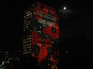 Poppies projected on the Shell building, London, November 2005
